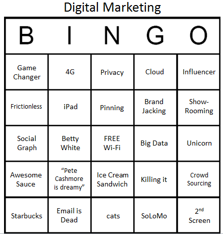 Digital Marketing Buzzword Bingo