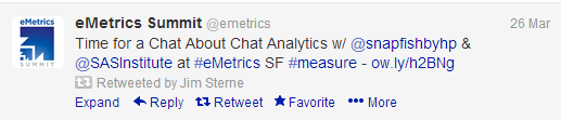 Jim Sterne Tweets about #emetrics