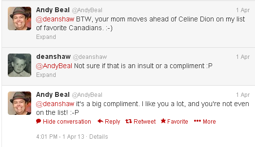 @AndyBeal is nice to my Mom