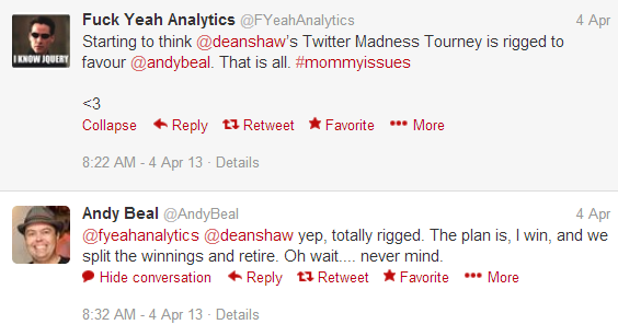 The Twitter Madness Tourney Rigged?